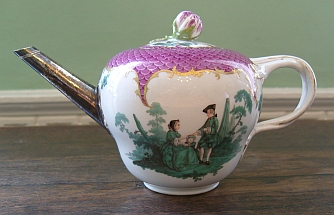 Mrs Thrale's teapot, Meissen porcelain, c.1755-60. White with pink and green design