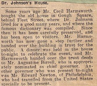 Newpaper cutting from the Cork Examiner 12th December 1929, announcing the formation of Dr Johnson's House Trust to run 17 Gough Square.
